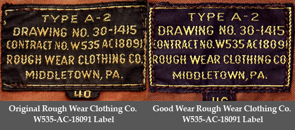 Good Wear reproduction Label based on the Rough Wear W535-ac-18091 A-2 contract of WWII