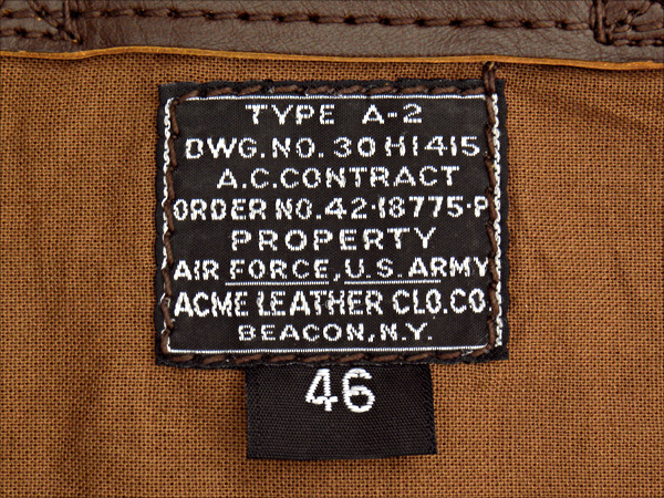 Good Wear Leather 42-18775-P Type A-2 Jacket Label