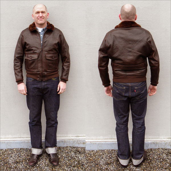Good Wear Leather Bogen & Tenenbaum AN-6552 Jacket Front and Back Full