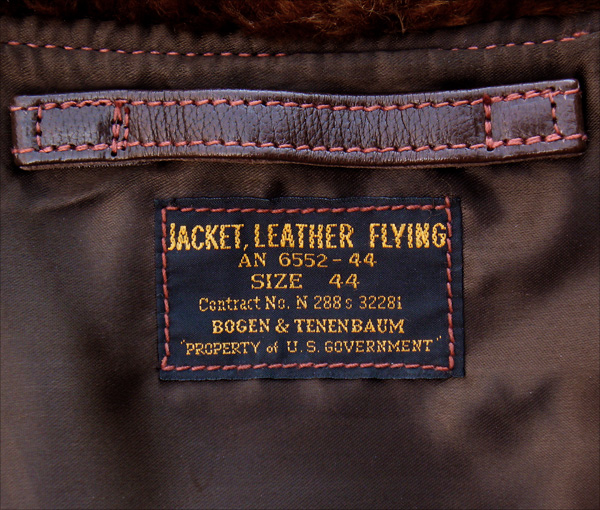 Good Wear Leather Bogen & Tenenbaum AN-6552 Jacket Label