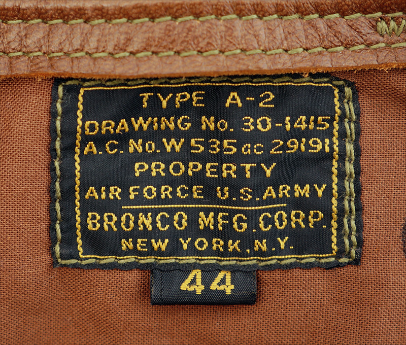 Good Wear Leather's Bronco MFG. Co. Type A-2 Label