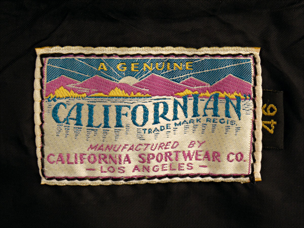California Sportwear Racer Jacket Label