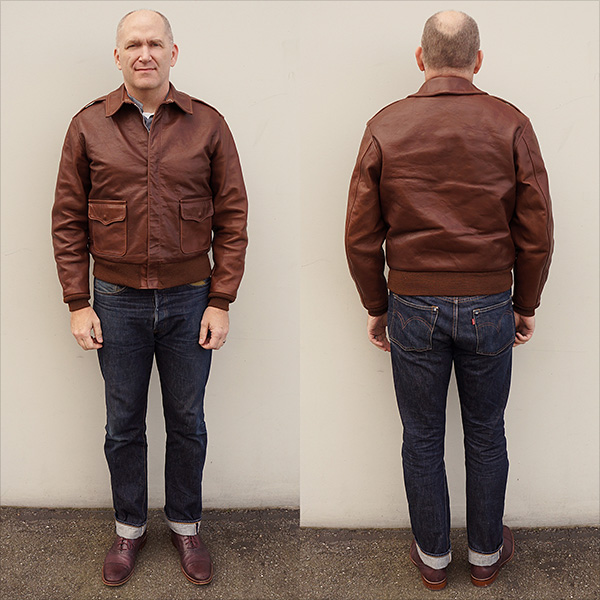 Good Wear Leather Rough Wear 42-1401-P Type A-2 Jacket Front and Back Full