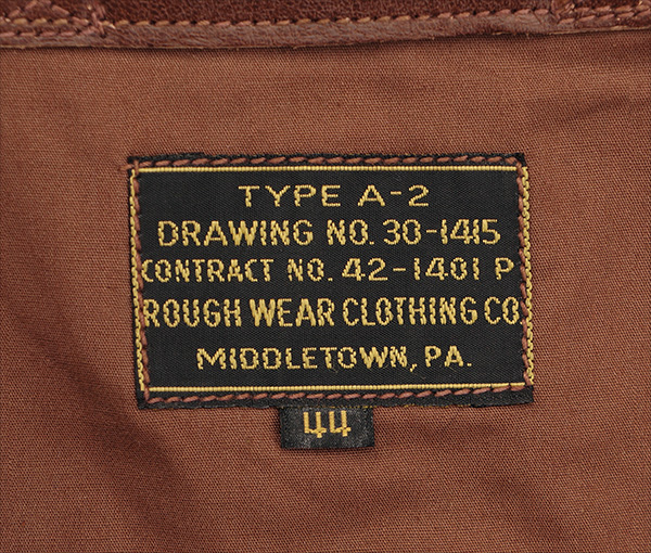 Good Wear Leather Rough Wear 42-1401-P Type A-2 Jacket Label
