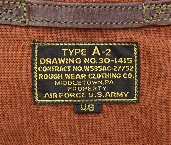 Good Wear Leather's Rough Wear Type A-2 Label