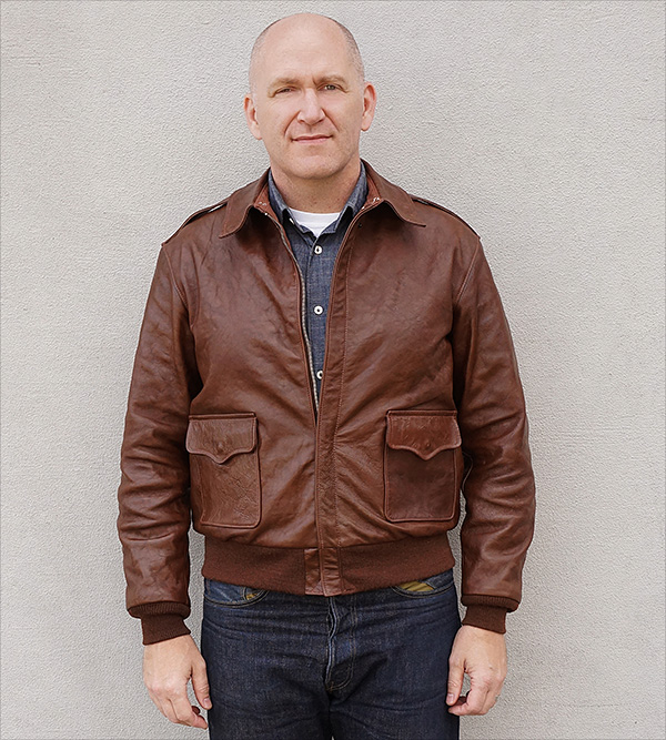 Good Wear Leather Werber Sportswear 42-1402-P Type A-2 Jacket Front View
