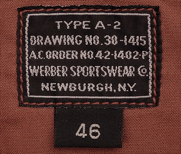 Good Wear Leather Werber Sportswear 42-1402-P Type A-2 Jacket label